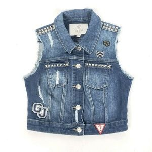 Guess Denim Button Front Studded Vest Girls small